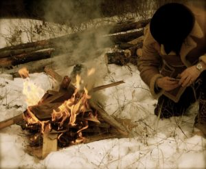 campfire in winter